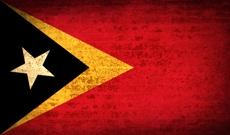 timor: Flags of East Timor with dirty paper texture. Vector illustration