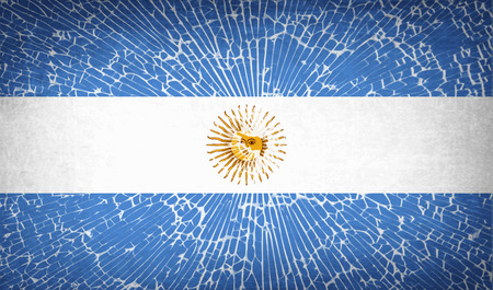 proportional: Flags of Argentina with broken glass texture. Vector illustration