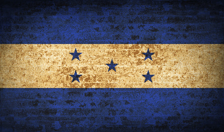spangled: Flags of Honduras with dirty paper texture. Vector illustration