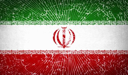 vetro rotto: Bandiere dell'Iran con rotto struttura di vetro. Illustrazione vettoriale Vettoriali