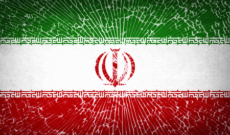 Flags of Iran with broken glass texture. Vector illustration