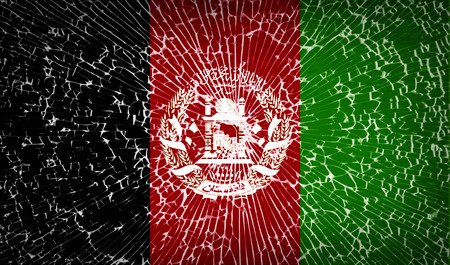 afghane: Flags of Afghanistan mit Glasscherben Textur. Vektor-Illustration