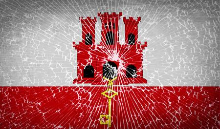 gibraltar: Flags of Gibraltar with broken glass texture. Vector illustration