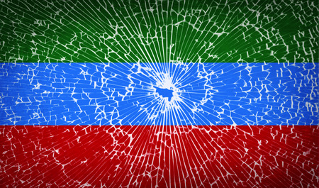 dagestan: Flags of Dagestan with broken glass texture. Vector illustration Illustration