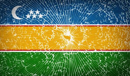 standards: Flags of Karakalpakstan with broken glass texture. Vector illustration