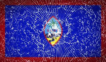 guam: Flags of Guam with broken glass texture. Vector illustration Illustration