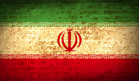 Flags of Iran with dirty paper texture. Vector illustration