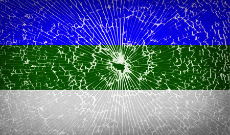 northwestern: Flags of Komi with broken glass texture. Vector illustration