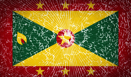 antilles: Flags of Grenada with broken glass texture. Vector illustration Illustration