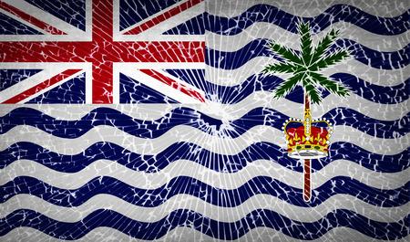 indian ocean: Flags of British Indian Ocean Territory with broken glass texture. Vector illustration
