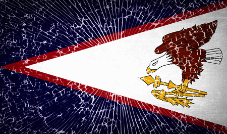 dependency: Flags of American Samoa with broken glass texture. Vector illustration