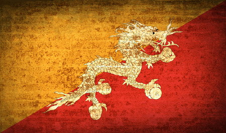 bhutan: Flags of Bhutan with dirty paper texture. Vector illustration