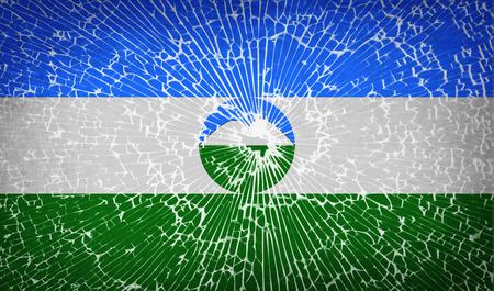 federal election: Flags of KabardinoBalkaria with broken glass texture. Vector illustration Illustration