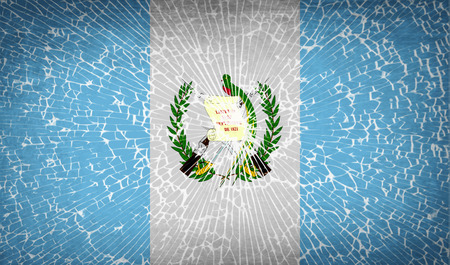 guatemala: Flags of Guatemala with broken glass texture. Vector illustration