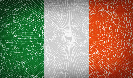 patriots: Flags of Ireland with broken glass texture. Vector illustration