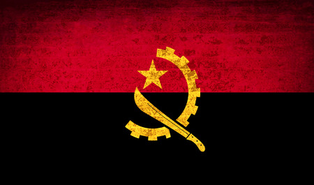 patriots: Flags of Angola with dirty paper texture. Vector illustration