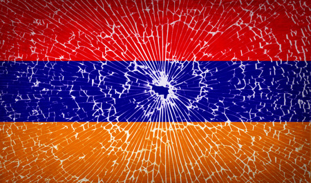 glass texture: Flags of Armenia with broken glass texture. Vector illustration Illustration