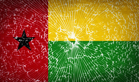 flagged: Flags of GuineaBissau with broken glass texture. Vector illustration Illustration
