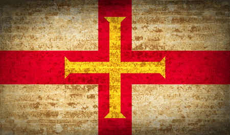 guernsey: Flags of Guernsey with dirty paper texture. Vector illustration