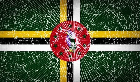 dominica: Flags of Dominica with broken glass texture. Vector illustration