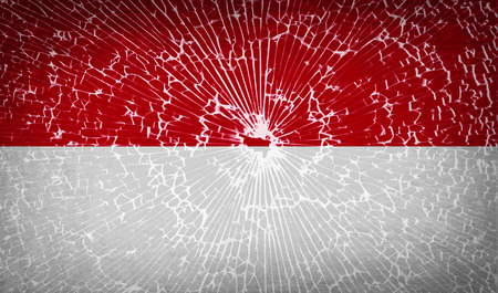 glass texture: Flags of Indonesia with broken glass texture. Vector illustration Illustration