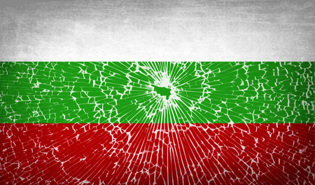 glass texture: Flags of Bulgaria with broken glass texture. Vector illustration