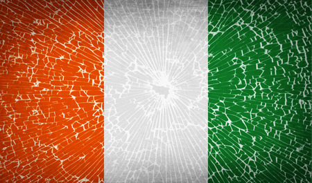 correctly: Flags of Cote dlvoire with broken glass texture. Vector illustration Illustration