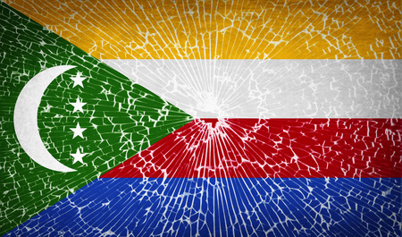 glass texture: Flags of Comoros with broken glass texture. Vector illustration