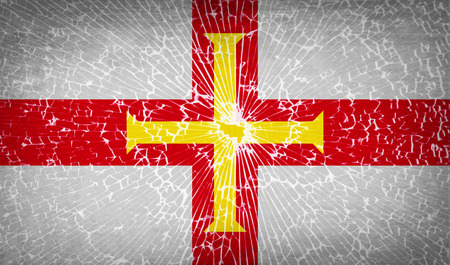 guernsey: Flags of Guernsey with broken glass texture. Vector illustration Illustration