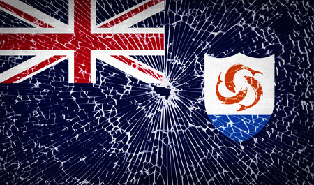 anguilla: Flags of Anguilla with broken glass texture. Vector illustration Illustration