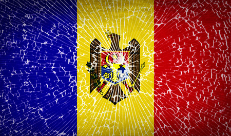 moldovan: Flags of Moldova with broken glass texture. Vector illustration