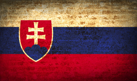 Flags of Slovakia with dirty paper texture. Vector illustration