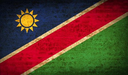 flagged: Flags of Namibia with dirty paper texture. Vector illustration Illustration
