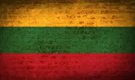 europe closeup: Flags of Lithuania. with dirty paper texture. Vector illustration