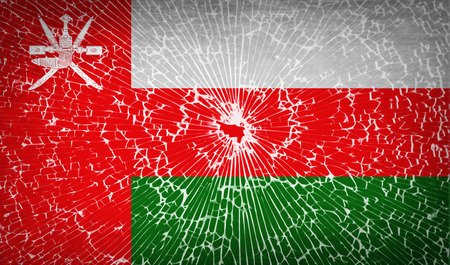 flagged: Flags of Oman with broken glass texture. Vector illustration Illustration