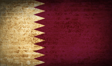 patriots: Flags of Qatar with dirty paper texture. Vector illustration Illustration