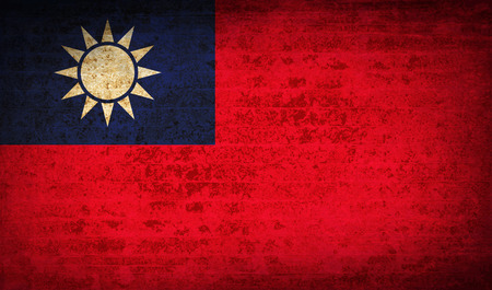 taiwanese: Flags of Taiwan with dirty paper texture. Vector illustration Illustration