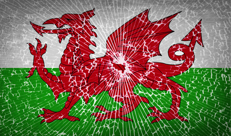 Flags of Wales with broken glass texture. Vector illustration Illustration