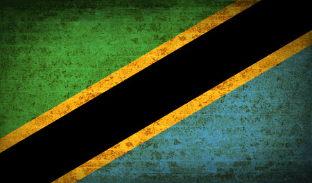 proportional: Flags of Tanzania with dirty paper texture. Vector illustration