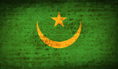 proportional: Flags of Mauritania with dirty paper texture. Vector illustration