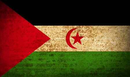 landlocked country: Flags of Western Sahara with dirty paper texture. Vector illustration