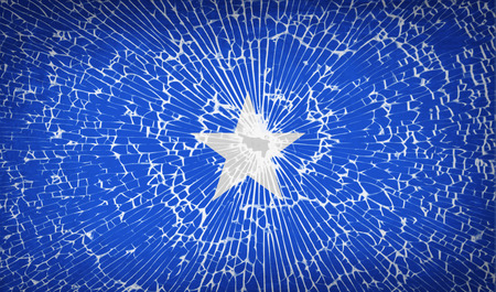 flagged: Flags of Somalia with broken glass texture. Vector illustration