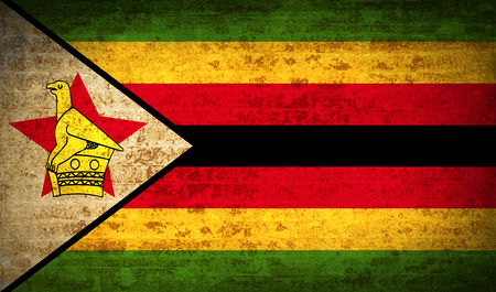 correctly: Flags of Zimbabwe with dirty paper texture. Vector illustration