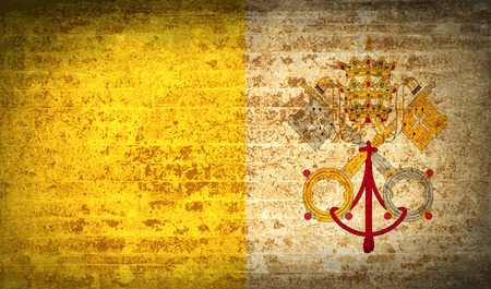 roman catholic: Flags of Vatican CityHoly See with dirty paper texture. Vector illustration