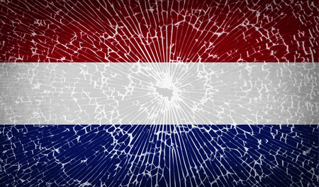 unitary: Flags of Netherlands with broken glass texture. Vector illustration