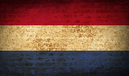 unitary: Flags of Netherlands with dirty paper texture. Vector illustration