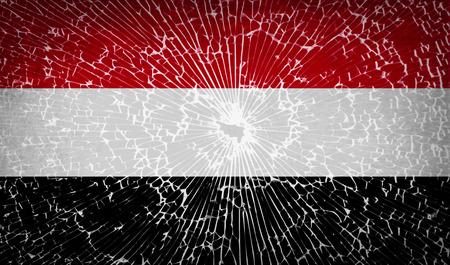 retrospective: Flags of Yemen with broken glass texture. Vector illustration Illustration