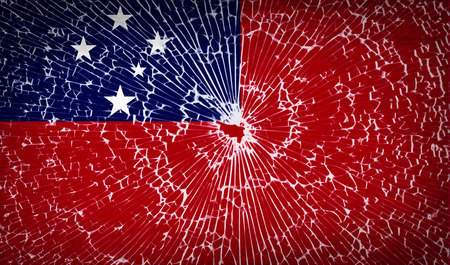 samoa: Flags of Samoa with broken glass texture. Vector illustration
