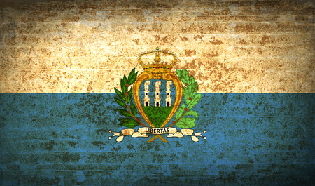 san marino: Flags of San Marino with dirty paper texture. Vector illustration