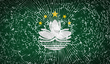 macau: Flags of Macau with broken glass texture. Vector illustration